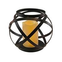 Banded Metal Lanterns with LED Candles- Black (Set of 3)