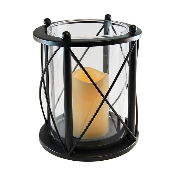 Round Criss Cross Metal Lantern with LED Candle- Black