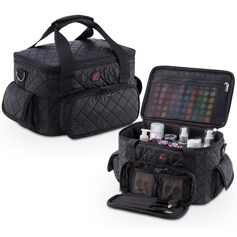 KIOTA Pro Quilted Makeup Artist Cosmetic Travel Bag and Clear Pouches