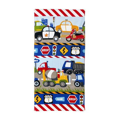 Dream Factory Trains and Trucks Cotton Bath Towel - 20Wx50L