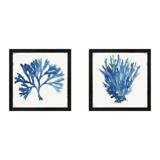 Aimee Wilson 'Blue and Green Coral B' Framed Art (Set of 2)