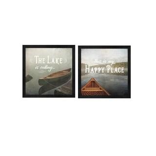 Jess Aiken 'Calm Waters no Triangles' Framed Art (Set of 2)
