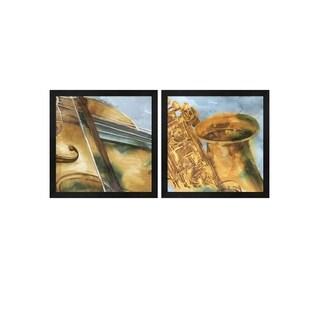 Eva Watts 'Musical Sax & Violin' Framed Art (Set of 2)