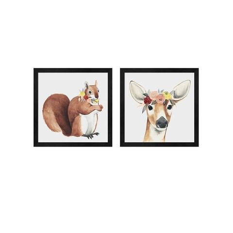 Grace Popp 'Flower Crown Forester B' Framed Art (Set of 2)