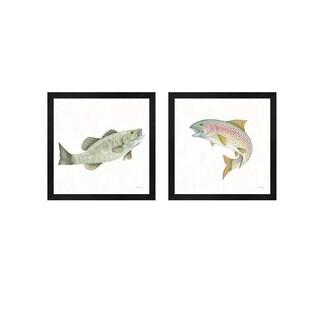 Elyse DeNeige 'Gone Fishin Small Mouth & Rainbow' Framed Art (Set of 2)