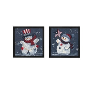 Beverly Johnston 'Snowman Holding A Star & With Top Hat' Framed Art (Set of 2)