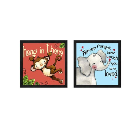 Jennifer Nilsson 'Hang in Monkey & Never Forget Elephant' Framed Art (Set of 2)