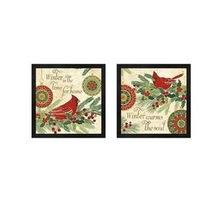 Veronique Charron 'Winter Feathers A' Framed Art (Set of 2)
