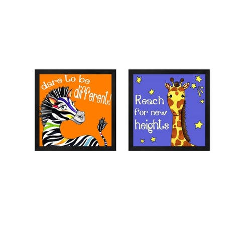 Jennifer Nilsson 'Different Zebra & New Heights Giraffe' Framed Art (Set of 2)