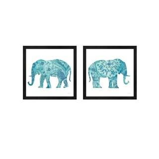 Danhui Nai 'Boho Teal Elephant' Framed Art (Set of 2)