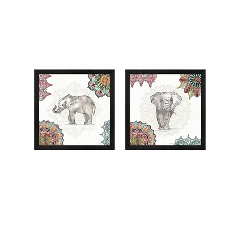 Anne Tavoletti 'Mandala Morning B' Framed Art (Set of 2)
