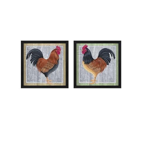 Tomoyo Pitcher 'Chicken' Framed Art (Set of 2)