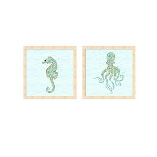 Tina Lavoie 'Stanley Seahorse & Olivia Octopus' Framed Art (Set of 2)