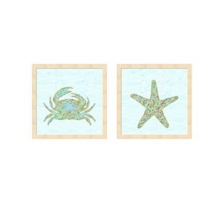 Tina Lavoie 'Kramer Crab & Stella Starfish' Framed Art (Set of 2)