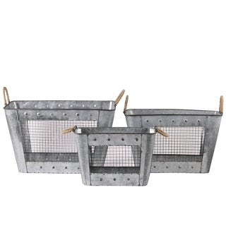 UTC30319: Metal Rectangular Basket Set of Three Galvanized Finish Gray