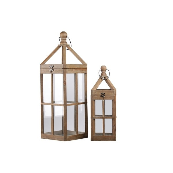 Urban Trends Wood Square Lantern with Round Finial Top and Window Pane Design Body in Natural Finish, Brown - Set of 2
