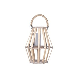 Urban Trends Wood Pentagonal Lantern with Rope Handle, Lattice Design Body and Hurricane Candle Holder in Painted Finish - White