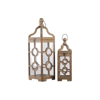 Urban Trends Wood Square Lantern with Round Finial Top and Double Circle Design Body in Natural Finish, Brown - Set of 2