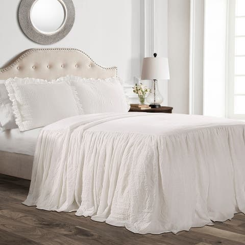 Lush Decor Ruffle King Size Skirt Bedspread Set in Ivory (As Is Item)
