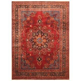 Handmade Herat Oriental Persian Hand-Knotted Mashad Wool Rug (8'1 x 11')