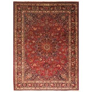 Handmade Herat Oriental Persian Hand-Knotted Mashad Wool Rug (8'2 x 11'5)