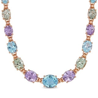 Miadora Rose Plated Sterling Silver 69ct TGW Multi Stone Link Necklace