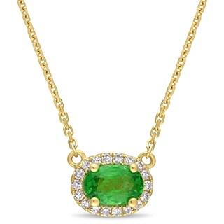 Miadora 14k Yellow Gold Tsavorite and 1/10ct TDW Diamond Charm Necklace