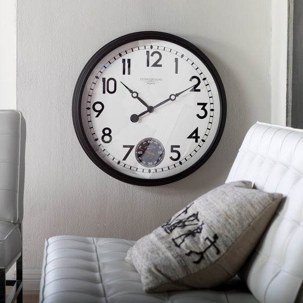 "Studio Designs Home Terrace Large 32"" Wall Clock with Subdial for Seconds"