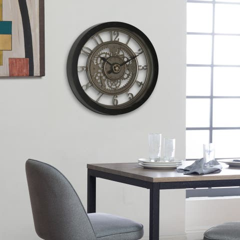 "Studio Designs Home Pinnacle Gear 24"" Wall Clock with Glass Face"