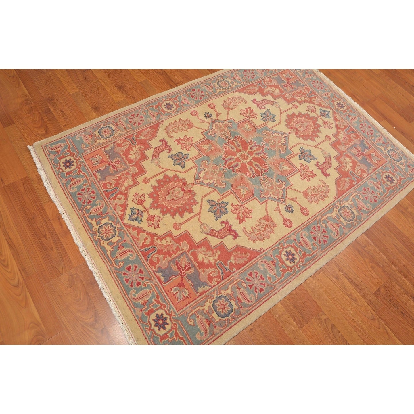 Shop Romanian Heriz Hand Knotted Wool Oriental Area Rug 44x62