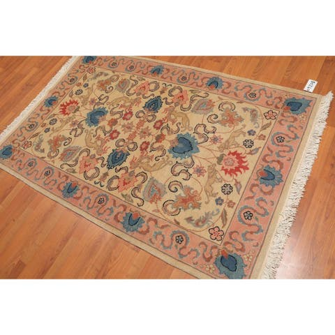 Pictorial Kashan Romanian Hand-Knotted Wool Persian Area Rug (4'x6') - Beige/Pale Pink, - 4' x 6' - Beige/Pale Pink, - 4' x 6'
