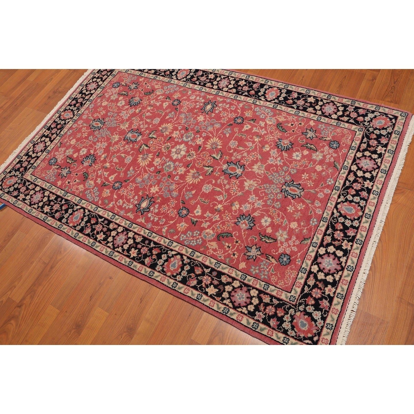 Traditional Persian Kashan Hand Knotted Wool Oriental Area Rug 4 X5 10 Rose Black 4 X 5 10 On Sale Overstock 23443279