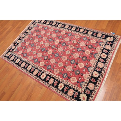 "Romanian Serapi Hand-Knotted Wool Persian Area Rug (4'4""x6'3"") - Rose/Black - 4'4"" x 6'3"" - 4'4"" x 6'3"""