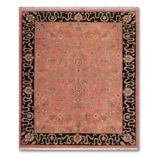 Handmade Hunting Pictorial Persian Area Rug (8'x10') - Black/Apricot - 8' x 10'