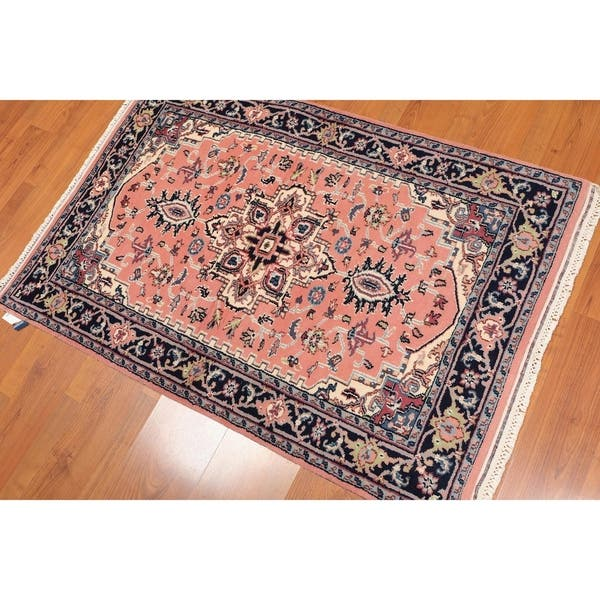 Traditional Tabriz Hand Knotted Wool Persian Area Rug 3 1 X4 6 Peach Ivory 3 1 X 4 6 Overstock 23443314