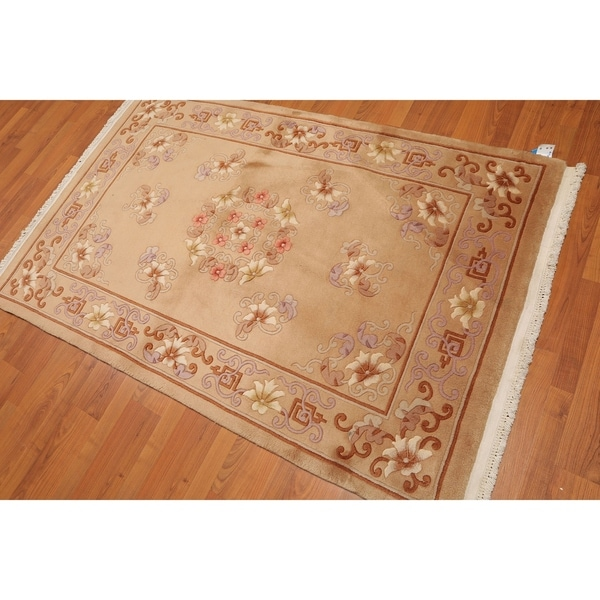 Hand Knotted Persian Style Wool Pile Area Rug: Shop Thick Pile Aubusson Hand-Knotted Wool Oriental Area