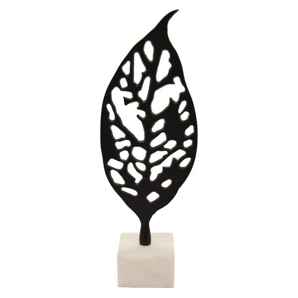 Three Hands Metal Leaf With Marble Base