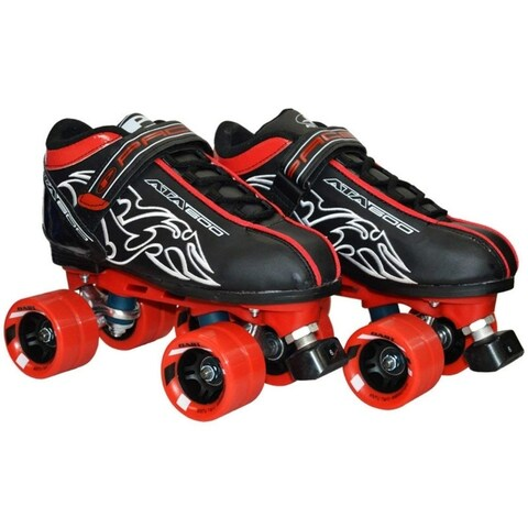 New! Customized Pacer Black ATA-600 Quad Roller Speed Skates w/ Red Dart Wheels