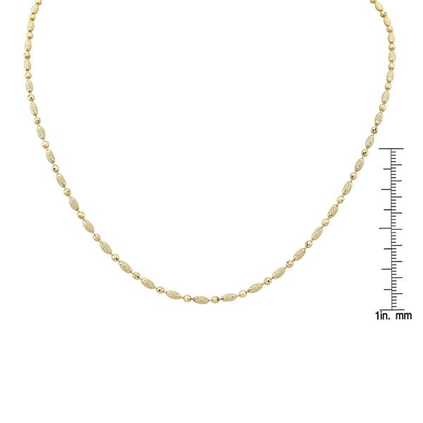 2f8a691dc24c0 14k Yellow Gold Diamond Cut Beads Chain Necklace, 17 Inches