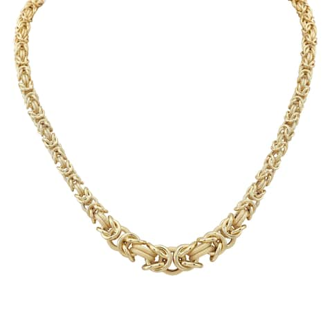 14k Yellow Gold Graduated Textured Byzantine Chain Necklace