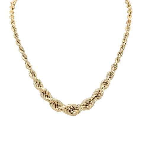 14k Yellow Gold Graduated Rope Chain Necklace