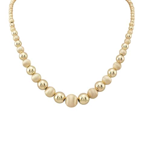 14k Yellow Gold Graduated Round Bead Necklace