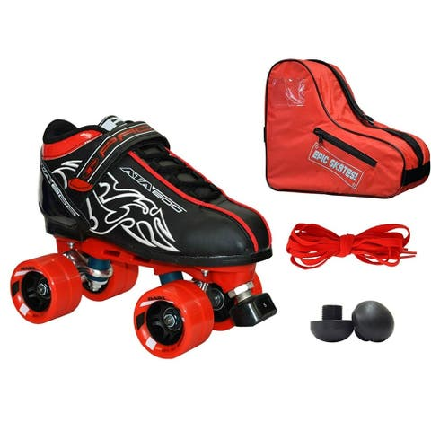 New! Customized Pacer Black ATA-600 Quad Roller Speed Skate 4pc. Bundle w/ Red Dart Wheels, Bag, Toe Plugs & Laces!