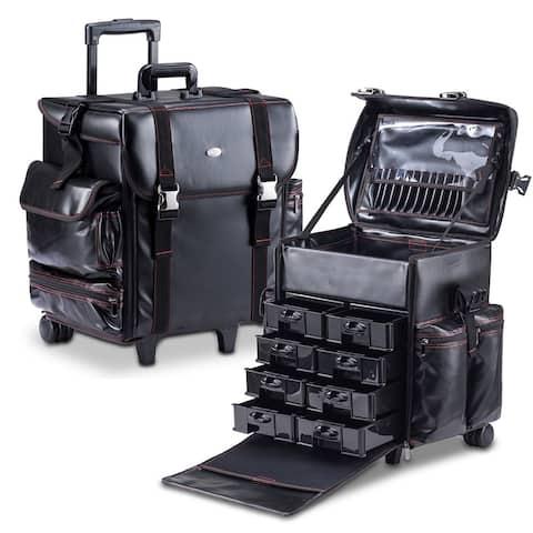 KIOTA Cosmetic Makeup Artist Case with Storage Drawers On Wheels