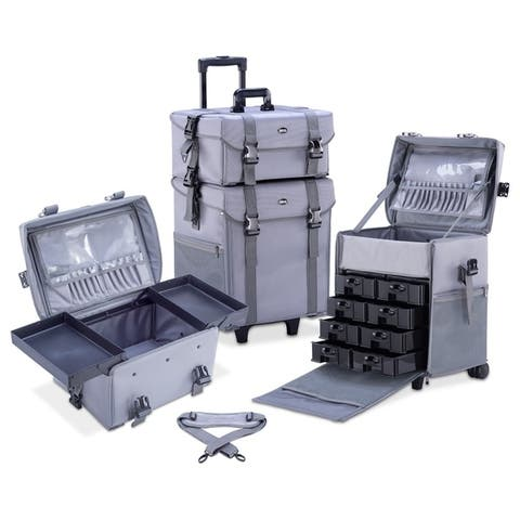 KIOTA 2-in-1 Makeup Artist Case on Wheels with Removable Drawers