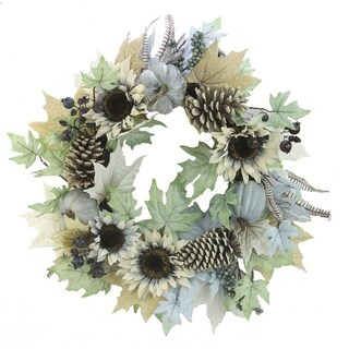 24 Inch Rustic Sunflower, Pumpkin Wreath