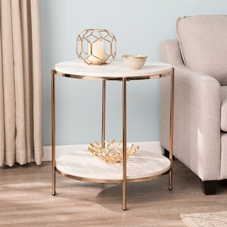 Silver Orchid Henderson Round Faux Stone End Table