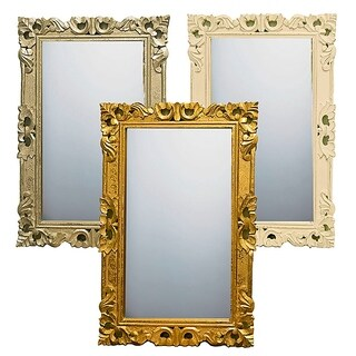 Essential Decor & Beyond 3pc Wood Carved Accent Mirror EN18480 - Gold/Champagne/White - 1 x 20 x 30