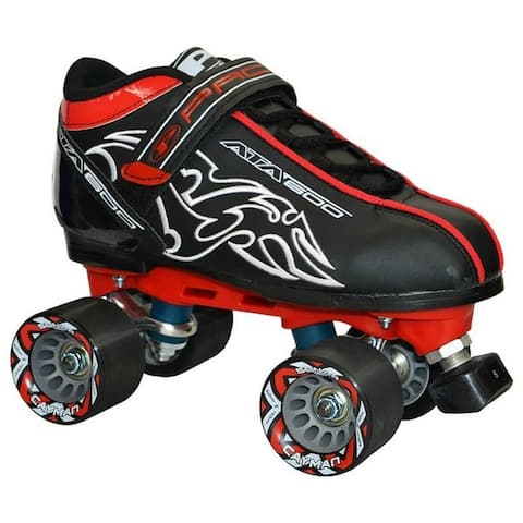 New Custom Pacer Black ATA-600 Quad Roller Speed Skates w/ Cayman Wheels ABEC 7