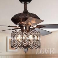 Mariposa 52-inch Rustic Bronze Chandelier Ceiling Fan wtih Crystal Shade